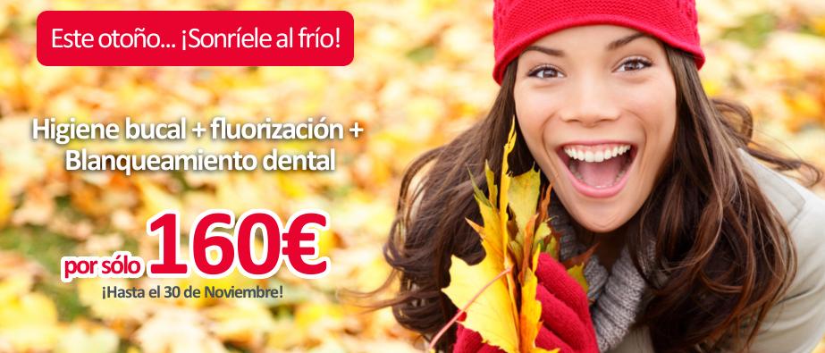 Promoción de otoño 2016: Higiene bucal + fluorización + blanqueamiento dental por sólo 160€